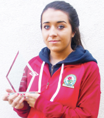 Hayley with her Sports personality of the month for November