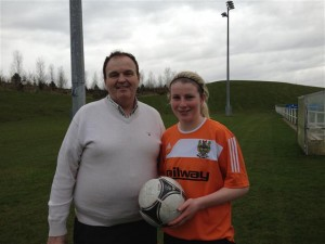 "Claire Rooney with Club sponsor George Booth ""The Railway Bar"""