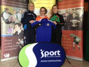 Rachael with Ruth Bell (active communities coach and Mid Ulster player) and Una Doyle (PE teacher)